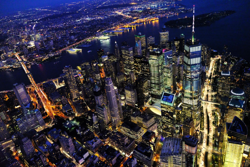 New York at night. View from above.